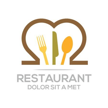 Besteck Love Kitchen Set Utensils Restaurant Logo  イラスト・ベクター素材