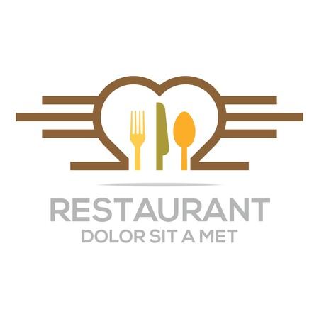 starving: Besteck Love Kitchen Set Utensils Restaurant Logo Illustration