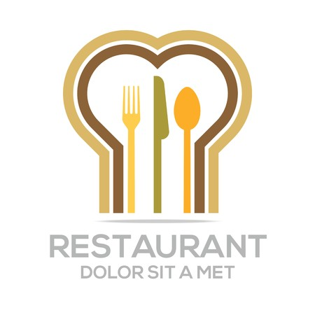 Besteck Love Kitchen Set Utensils Restaurant Logo Ilustracja
