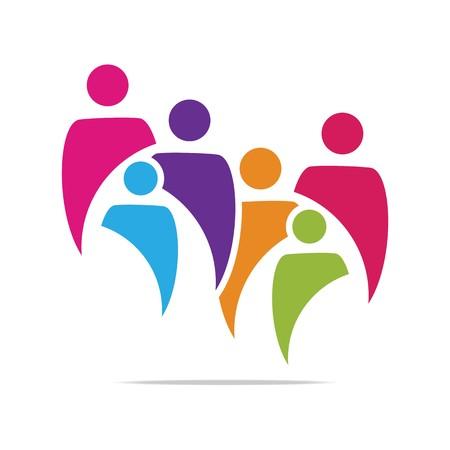 Logo Familie Kinder Leute mit Kindern, Organisation Sozial-Team Standard-Bild - 45242932