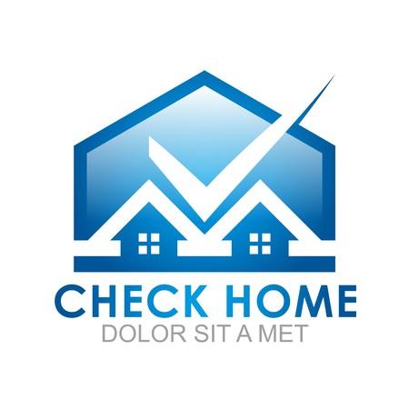 interior design home: Logo check home blue icon abstract Illustration