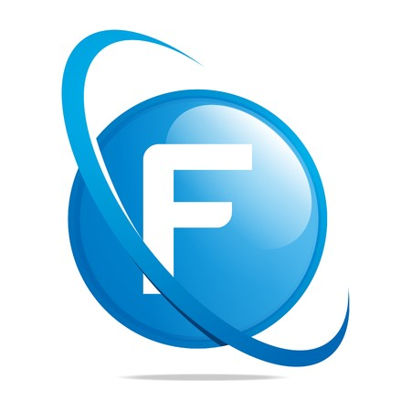 Logo globe letter F blue abstract vector Çizim
