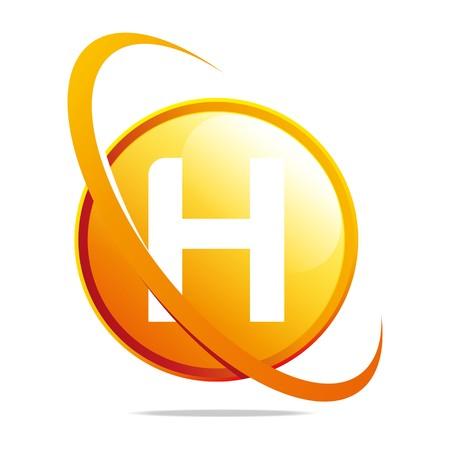 globe logo: Logo globe letter H orange abstract vector