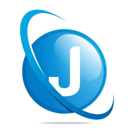 globe logo: Logo globe letter J blue abstract vector Illustration