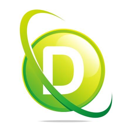 Logo globe letter D green abstract vector