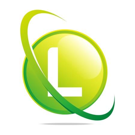 Logo globe letter L green abstract vector Ilustracja