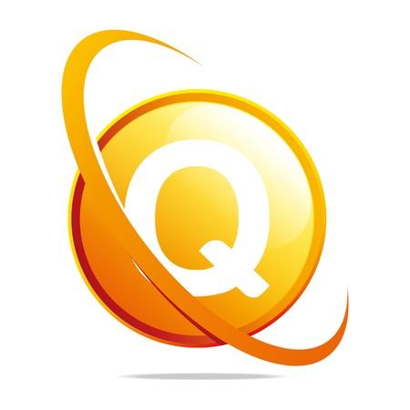 globe logo: Logo globe letter Q orange abstract vector Illustration