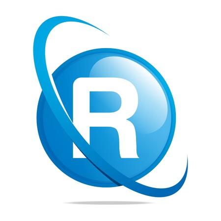 globe logo: Logo globe letter R blue abstract vector