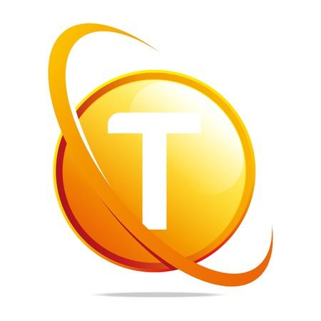 globe logo: Logo globe letter T orange abstract vector