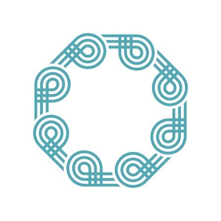 octagon: Logo octagon lightblue vector abstract Illustration