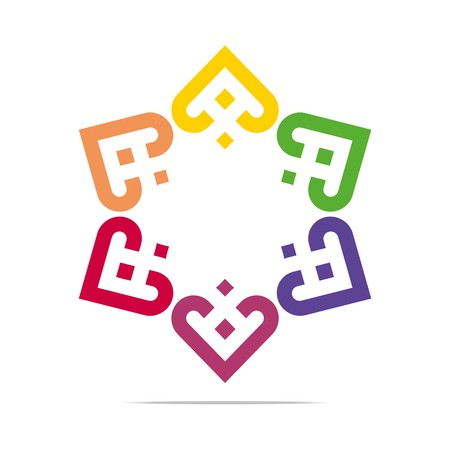 colorful heart: Abstract Logo Six Colorful Heart Love Design Vector Business Illustration