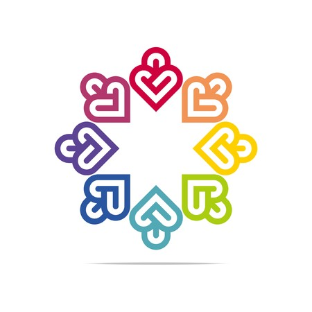 looped shape: Abstract Logo Eight Colorful Heart Love Design Vector Business Illustration