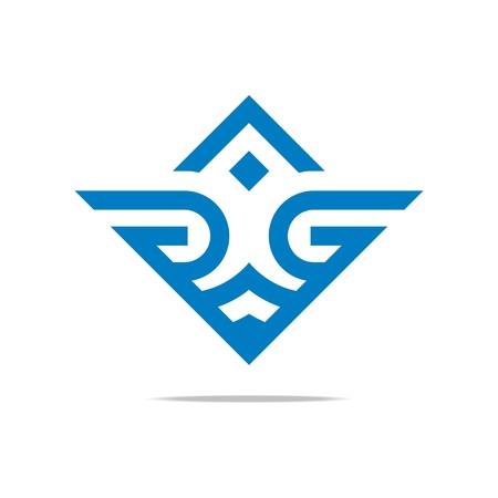 Logo Abstract Letter Wings G Love Combination Design Element Symbol Icon Ilustração