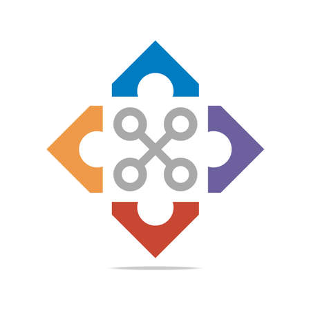 cor: Logo Abstract Connection Circle Square Element Design Vector
