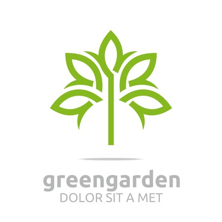 Abstract logo green garden floral design vector Çizim