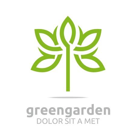 medics: Abstract logo green garden floral design vector Illustration