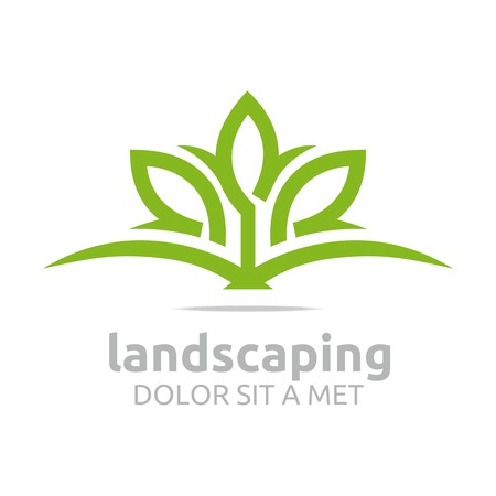 rural landscapes: Abstract logo leaves landscaping ecology design vector