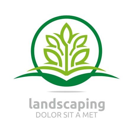 Resumen logotipo deja paisajismo Diseño de la ecología del vector Foto de archivo - 45283929