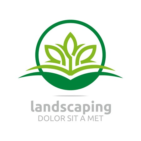companies: Abstract logo leaves landscaping ecology design vector