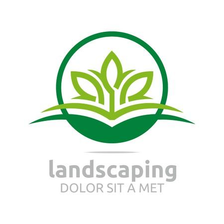 Abstracte logo laat landschapsarchitectuur ecologie ontwerp vector Stock Illustratie