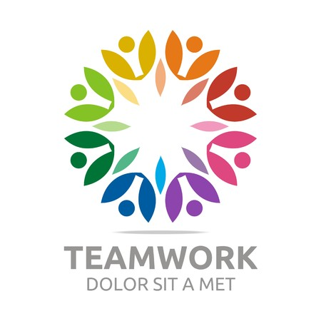 retire: Logo teamwork people human colorful design vector Illustration