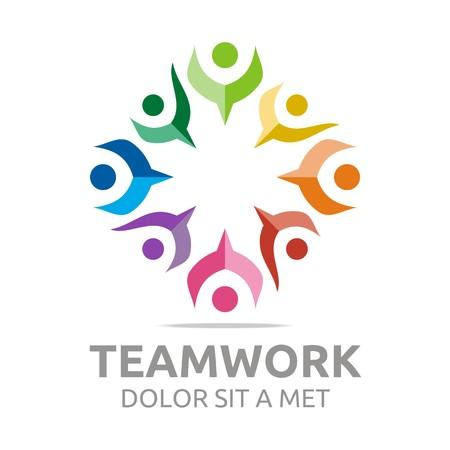 Logo teamwork people human colorful design vector Illustration