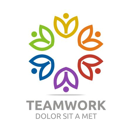 global retirement: Logo teamwork people human colorful design vector Illustration