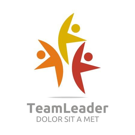 gobierno corporativo: Logo guía teamleader colorido diseño vectorial humana