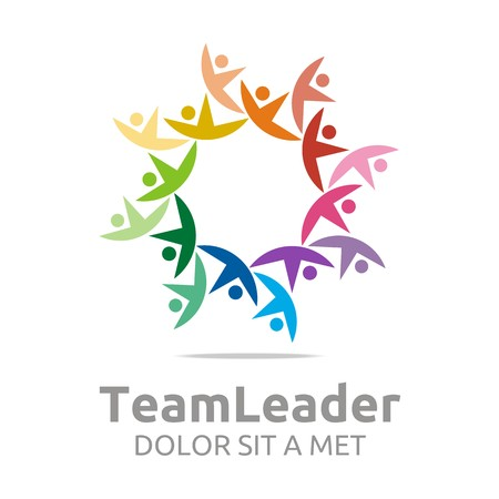 guidance: Logo teamleader guidance human colorful design vector Illustration