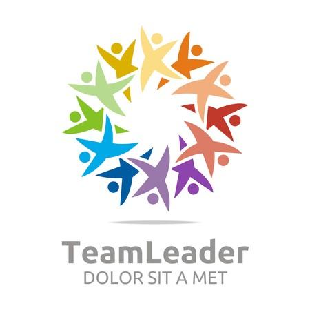 Logo teamleader guidance human colorful design vector Illustration