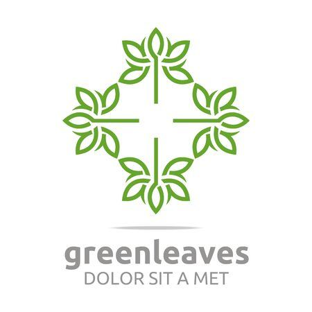 leafs: Abstract logo green leaves ecology design vector