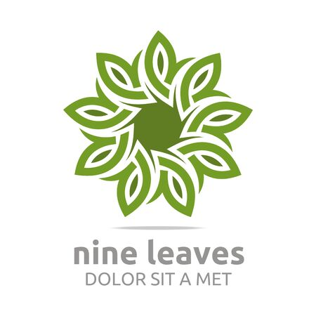 maple tree: Abstract logo nine leaves circle floral design vector