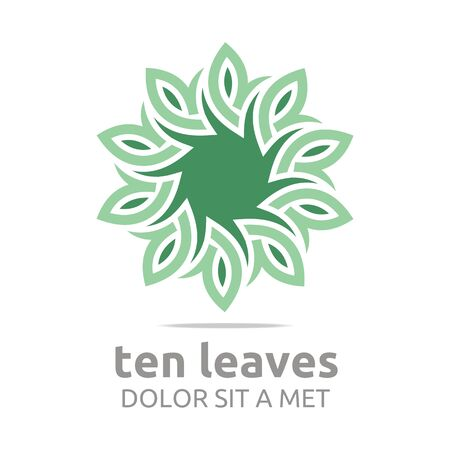 Abstract logo ten leaves circle floral design vector