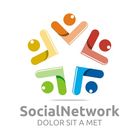 group icon: Logo social network people colorful design symbol vector