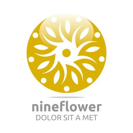 circle flower: Abstract logo nine flower circle floral design vector Illustration