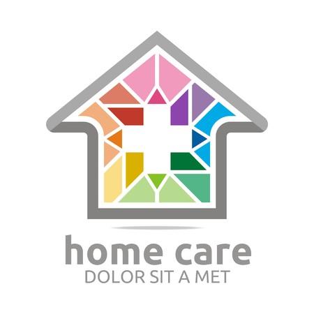Logo home care healthy rainbow symbol buildings vector Illustration