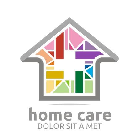 home care: Logo home care healthy rainbow symbol buildings vector Illustration