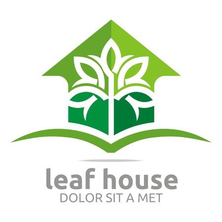 house logo: Abstract logo real estate leaf house design icon vector