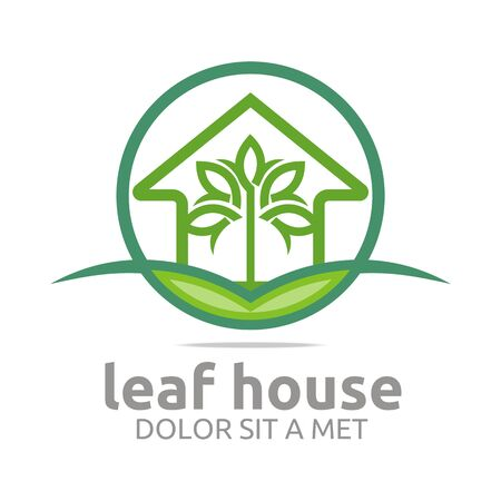 real estate house: Abstract logo real estate leaf house design icon vector