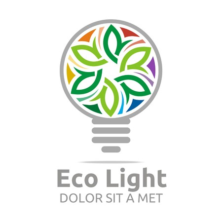 green life: Abstract logo lamp eco light bulb colorful design icon