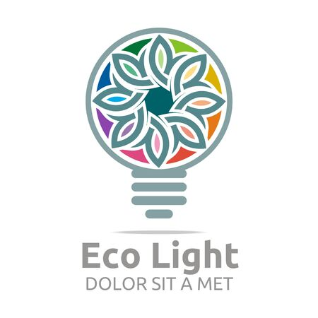 new idea: Abstract logo lamp eco light bulb colorful design icon