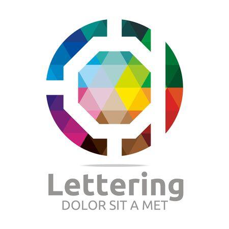 verbs: Abstract logo lettering a rainbow alphabet design vector
