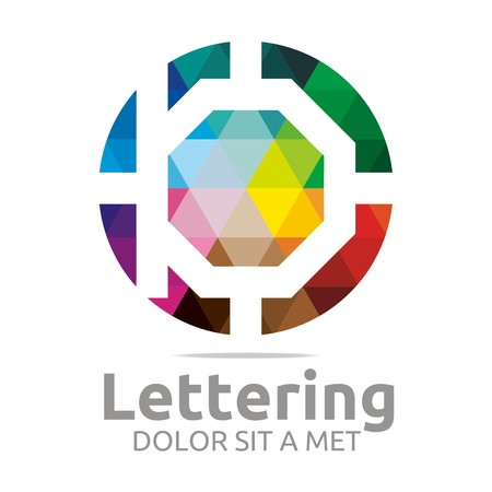 verbs: Abstract logo lettering b rainbow alphabet design vector