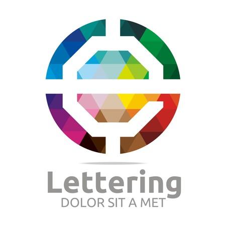 verbs: Abstract logo lettering e rainbow alphabet design vector