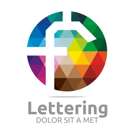 verbs: Abstract logo lettering f rainbow alphabet design vector