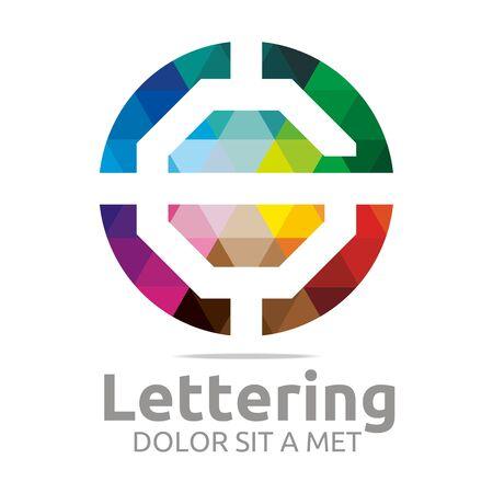 verbs: Abstract logo lettering g rainbow alphabet design vector