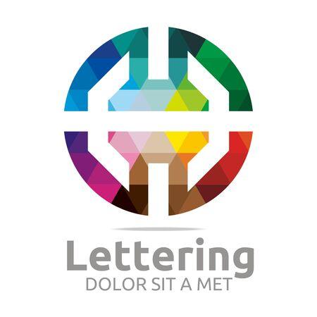 verbs: Abstract logo lettering h rainbow alphabet design vector