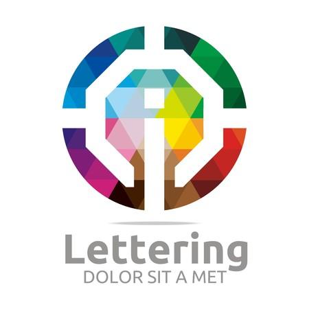 sans: Abstract logo lettering i rainbow alphabet design vector Illustration