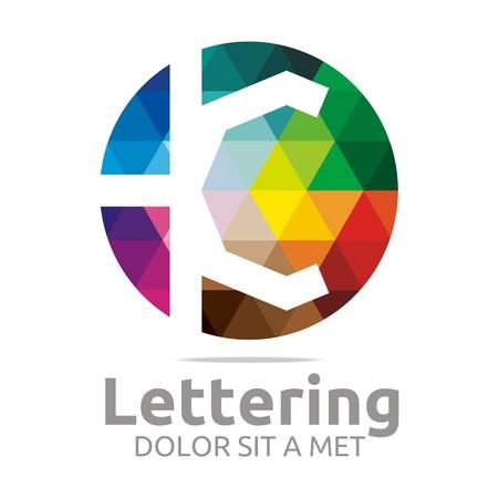 verbs: Abstract logo lettering k rainbow alphabet design vector