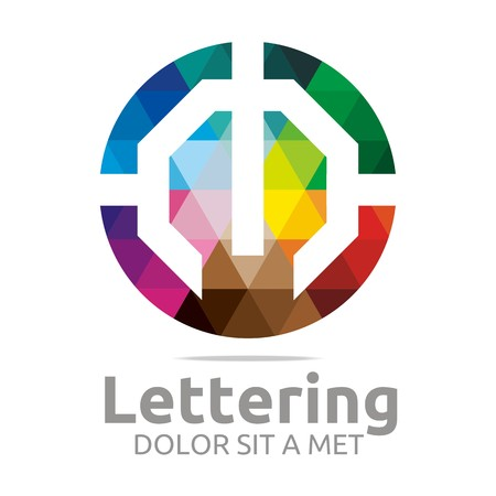 verbs: Abstract logo lettering m rainbow alphabet design vector
